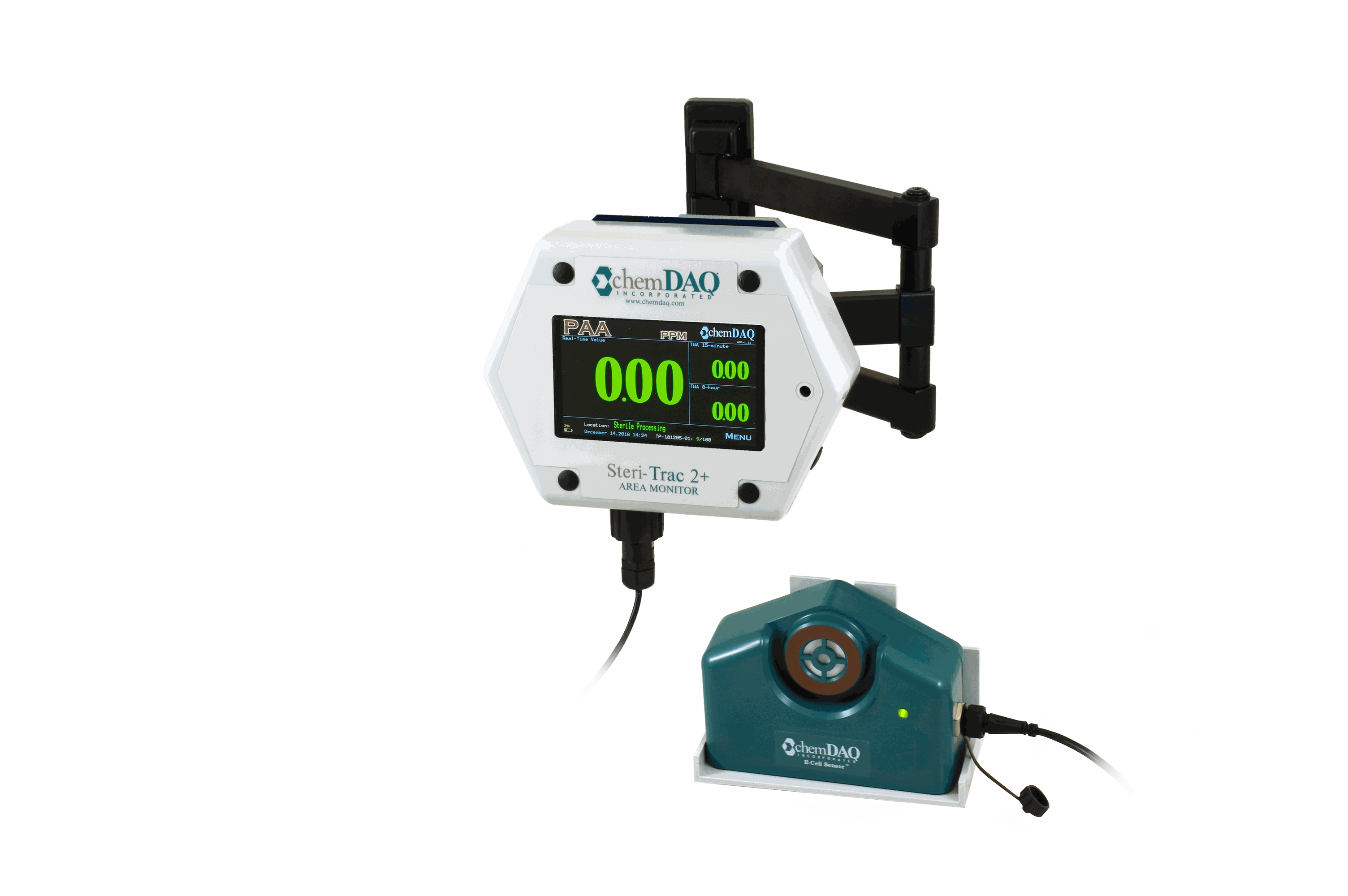 ChemDAQ's fixed air monitor provides real time readings of peracetic acid, ethylene oxide and hydrogen peroxide in the work environment.