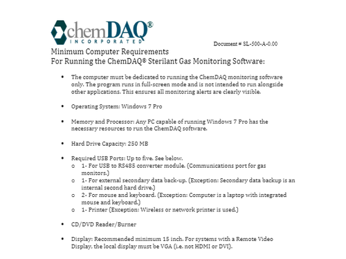 Computer Hardware Requirements for DAQ Software | ChemDAQ