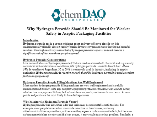 Why Hydrogen Peroxide Should Be Monitored for Worker Safety in