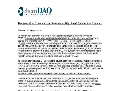 The New AAMI Chemical Sterilization and High Level Disinfection